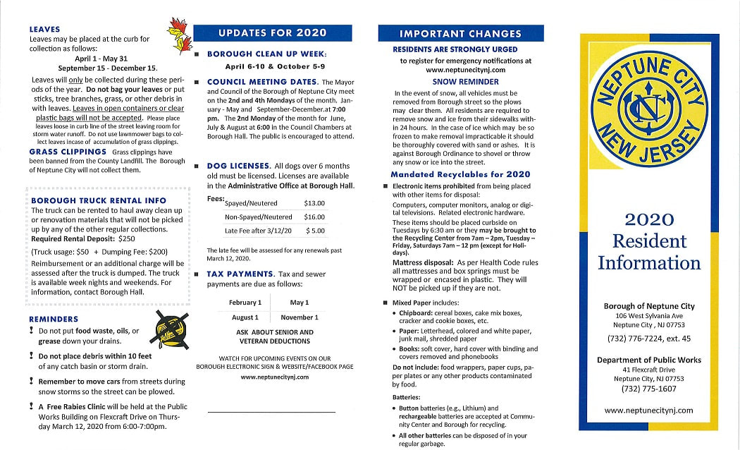2020 Resident Information Pamphlet Page 1